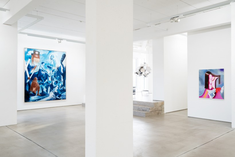 installation view G2 Kunsthalle with art works by Neo Rauch, Tomás Saraceno and Kristins Schuldt from the Hildebrand Collection, photo: Dotgain.info © the artists & G2 Kunsthalle