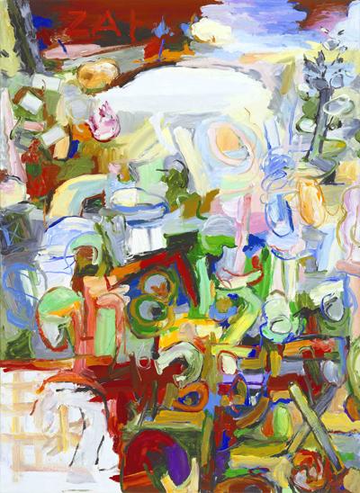 Dauerhaft ausgestellt in der G2 Kunsthalle Leipzig: Uwe Kowski, Zahlenfluss, 2008, Sammlung Hildebrand, Leipzig, Foto: Uwe Walter, Berlin © courtesy Galerie EIGEN+ART Leipzig/Berlin / VG Bild-Kunst, Bonn 2015.