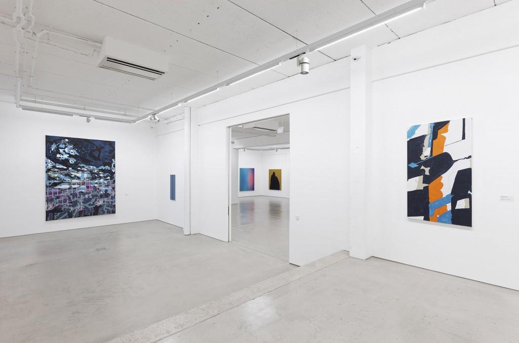 Tobias Lehner: o.T. (2010/11), Philip Seibel: Tafel Nr. 51 (2015), Dennis Loesch: Gradient No. 18 (Fun Fun de de Siècle Siècle, 2015), Stefan Behlau: Köln (2015), Koen van den Broek: Birds #101 (2014), photo: Dotgain.info © the artists & G2 Kunsthalle, Leipzig.