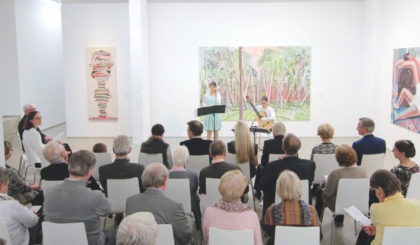 Baumbach-Duo, Konzert in der G2 Kunsthalle vor Bildern von Henriette Grahnert, David Schnell und Kristina Schuldt, 15. Oktober 2016 © G2 Kunsthalle Leipzig