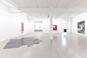 installation view with art works by (from left to right) Daniel Steegmann Mangrané, Rirkrit Tiravanija, Anne Imhof and Jeanette Mundt