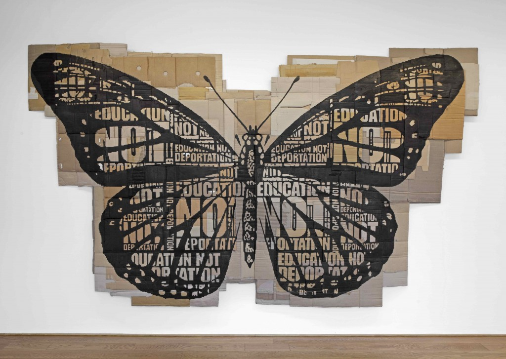 Andrea Bowers, Papillon Monarque, 2014, marker on found cardboard, 204 x 352 cm © the artist, courtesy kaufmann repetto Milan/New York