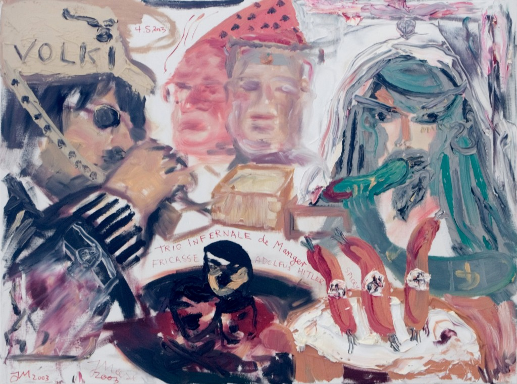 Jonathan Meese & Herbert Volkmann, Trio infernale de manger, 2003, oil and collage on canvas, 60 x 80 cm © the artists / VG Bild-Kunst Bonn 2018