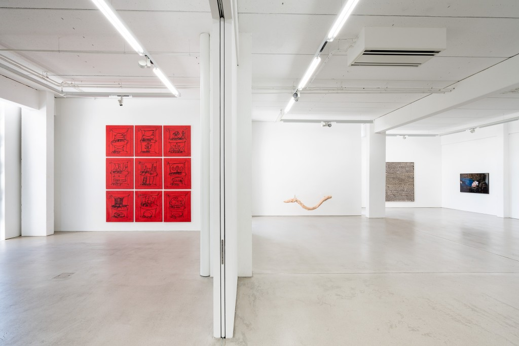Installation view with art works by Matt Mullican, Hannah Levy, Stefan Vogel and Grit Hachmeister, exhibition: Wege zur Welt, 30 May – 15 September 2019, G2 Kunsthalle Leipzig © the artists & G2 Kunsthalle, photo: Dotgain.info