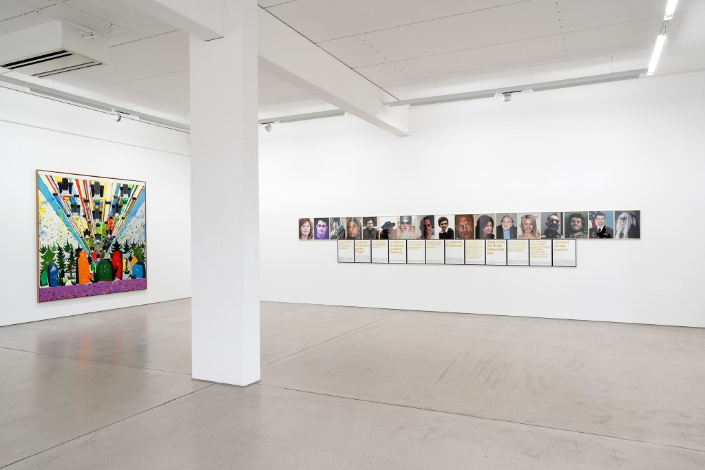 Installation view with art works by Tal R and Sven Johne, exhibition: Wege zur Welt, 30 May – 15 Sept. 2019, G2 Kunsthalle Leipzig © the artists & G2 Kunsthalle, photo: Dotgain.info