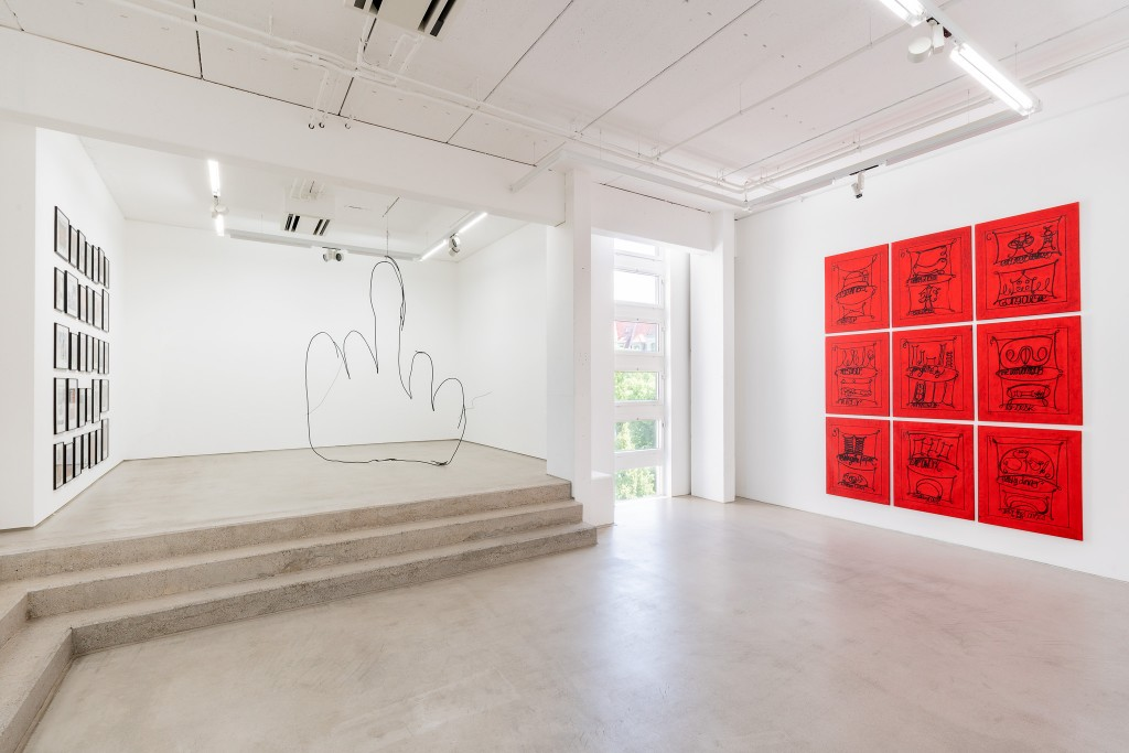Installation view with art works by David Renggli, Petrit Halilaj and Matt Mullican, exhibition: Wege zur Welt, 30 May – 15 September 2019, G2 Kunsthalle Leipzig © the artists & G2 Kunsthalle, photo: Dotgain.info
