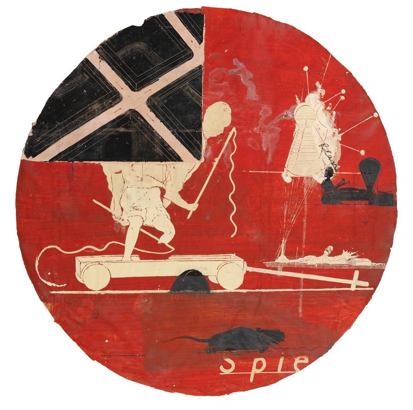 Neo Rauch, Plan, 1994, Öl, Collage auf Papier / oil collage con paper, Durchmesser / diameter: 180 cm, Sammlung /collection Hildebrand, Leipzig © Neo Rauch & VG Bild-Kunst, Bonn 2020, courtesy Galerie EIGEN + ART, Leipzig/Berlin & David Zwirner, New York/London/Hong Kong/Paris